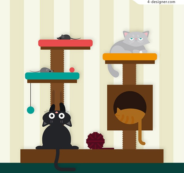 Cats and cats climbing frames