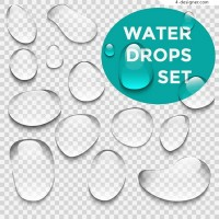 Clear and transparent water drops