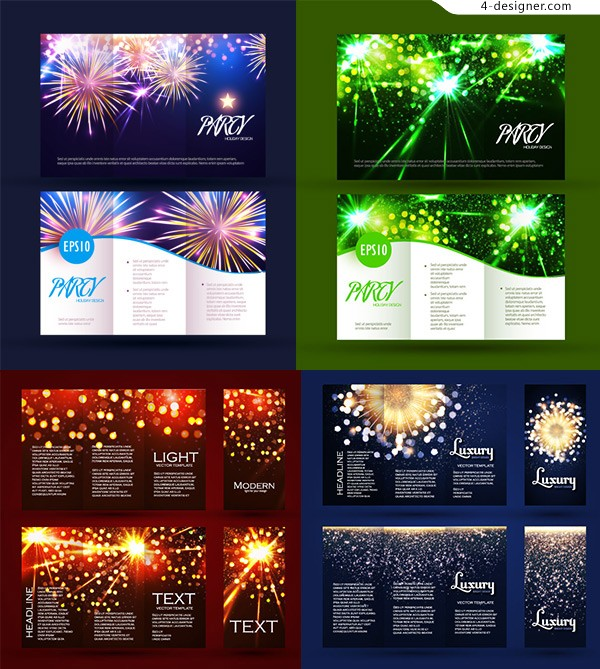 Colorful fireworks folding