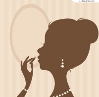 Female makeup silhouette vector