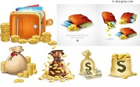 Golden bag money vector