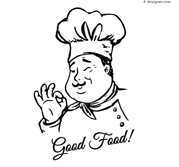 Hand painted chef vector