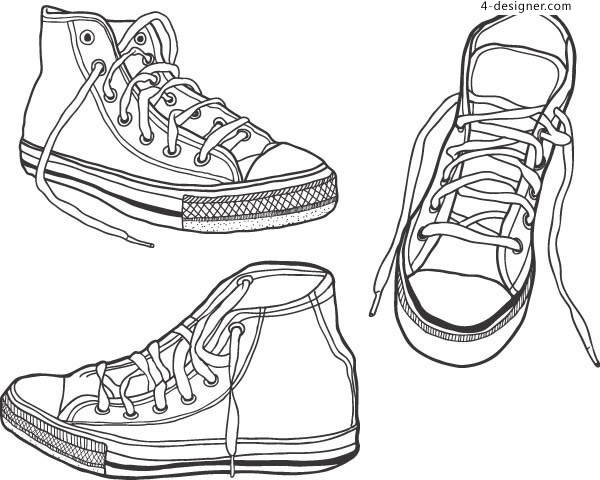 Line outline sports shoes