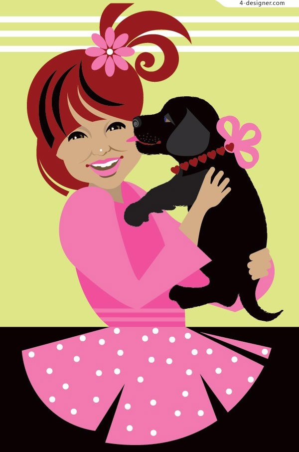 Little girl and dog vector