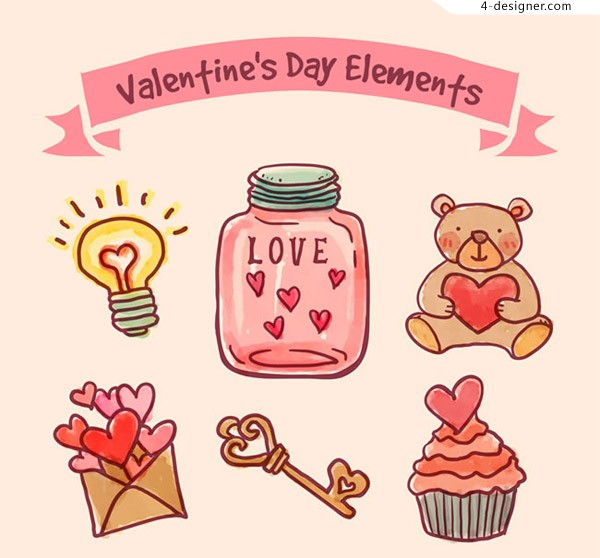 Painted Valentine s Day elements