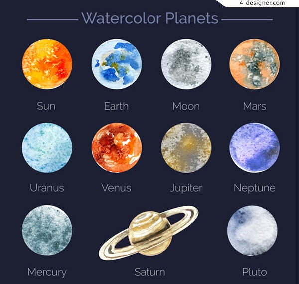 Planet vector of water painting