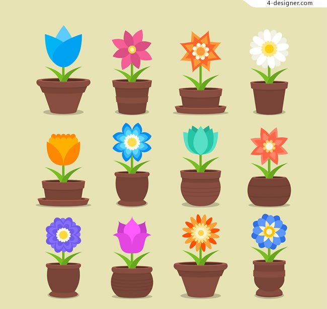 Potted flower vector