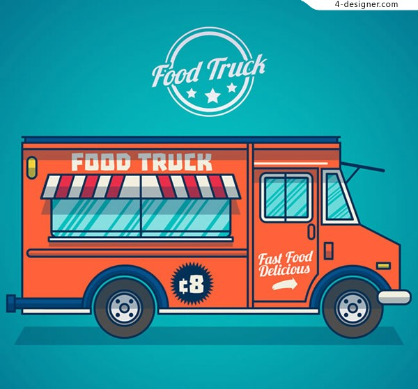 Red fast food vehicle vector