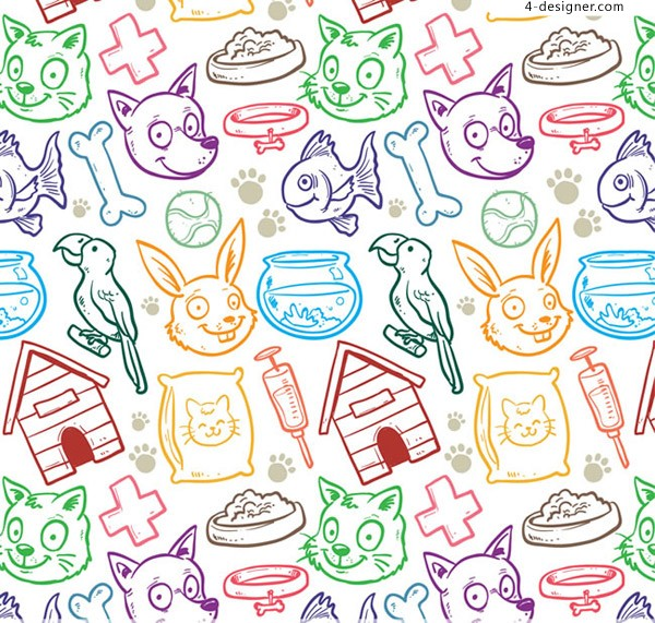 Seamless background of pet elements