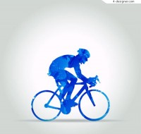 Silhouette of a man riding a bicycle