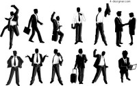 Silhouette of male white collar workers