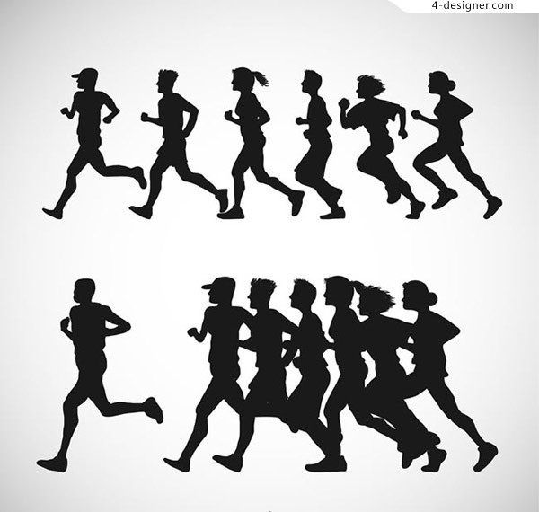 Silhouette of running crowd