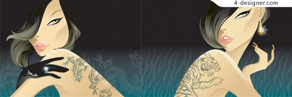 Tattoo girl vector