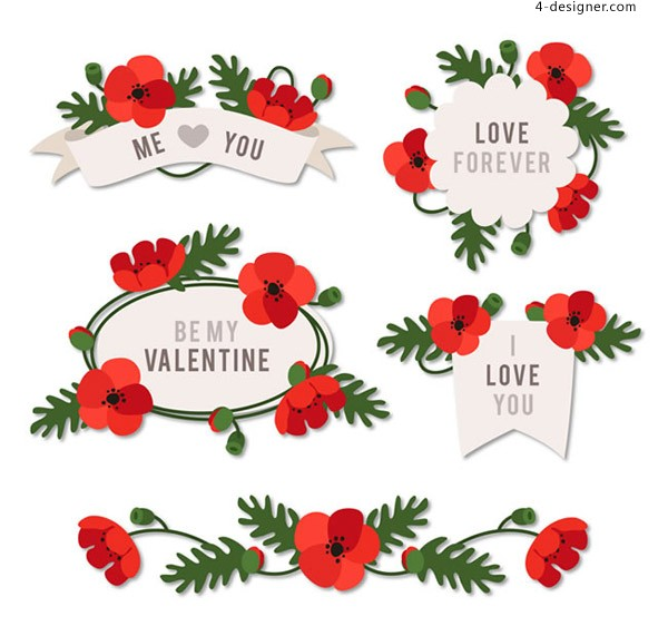 Valentine s Day flower label