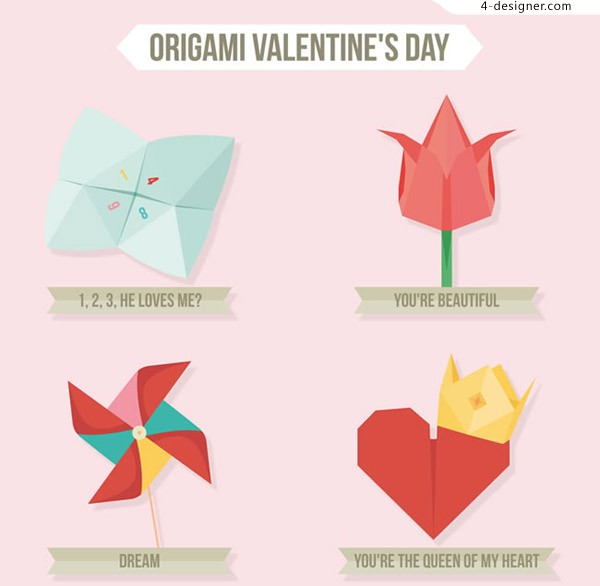 Valentine s Day origami vector