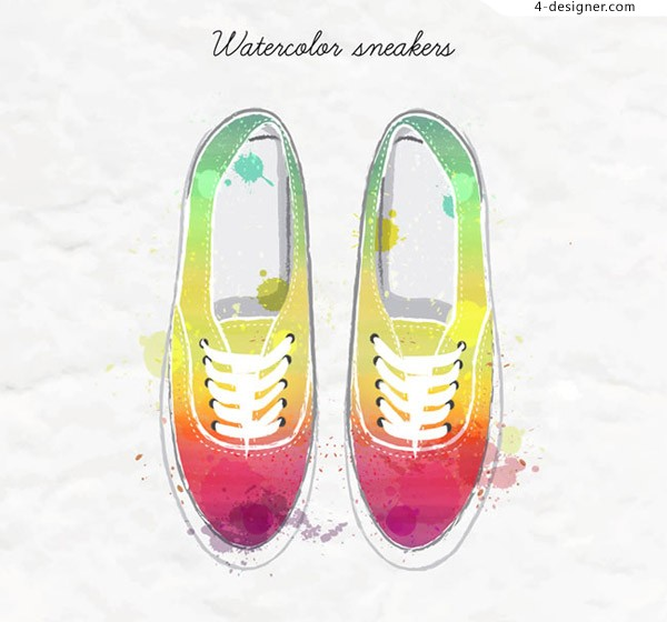 Water painted sports shoes vector