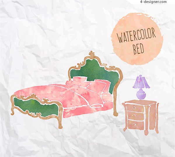 Watercolor beds and bedside cabinets