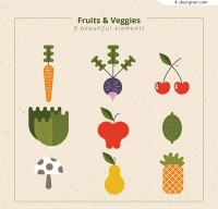 Abstract fruit and vegetable vector