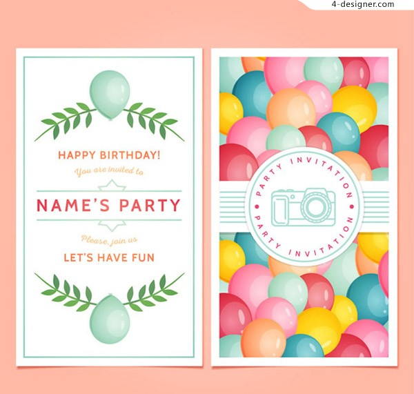Balloon party invitation card