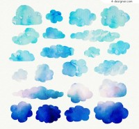 Blue watercolor clouds