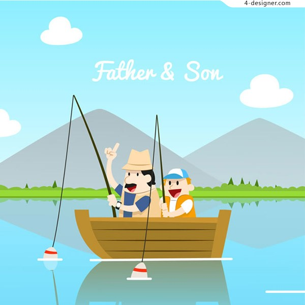 Cartoon fishing father and son