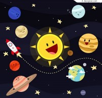 Cartoon planet of the solar system