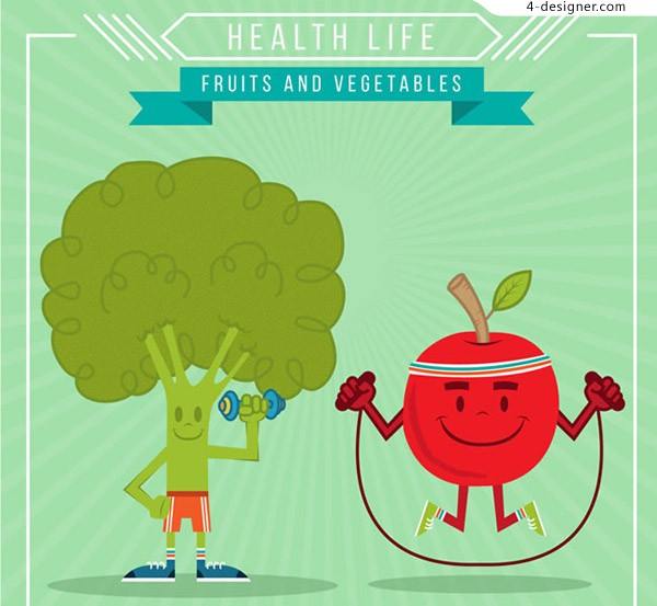 Cartoon sports fruits and vegetables