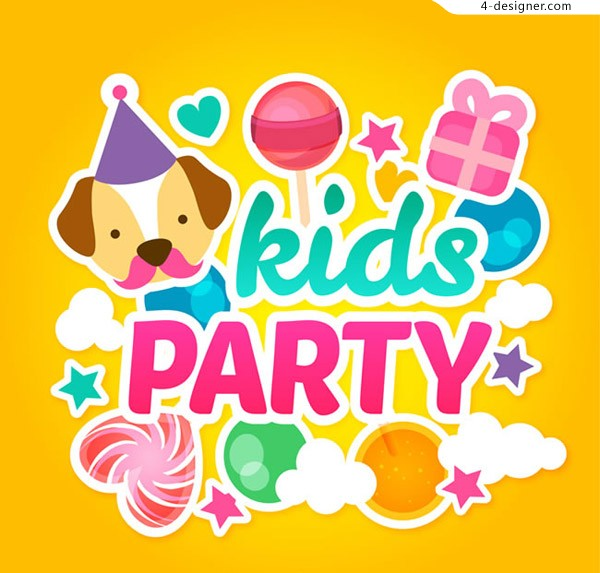 Children s party greeting card vector