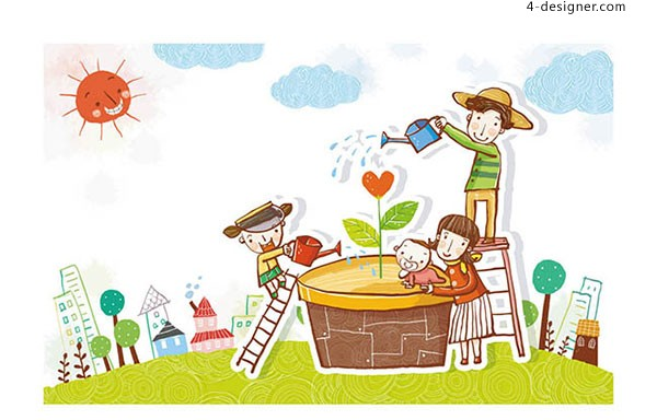 Children watering flowers