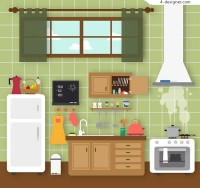 Clean kitchen vector