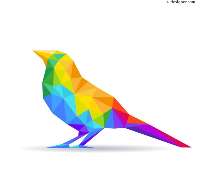 Color abstract bird vector