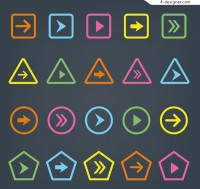 Color arrow button vector