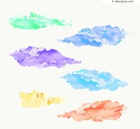 Creative watercolor clouds