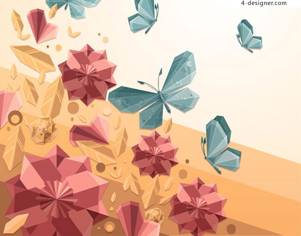 Crystal butterflies and flowers
