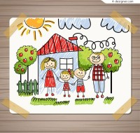 Family illustration for children