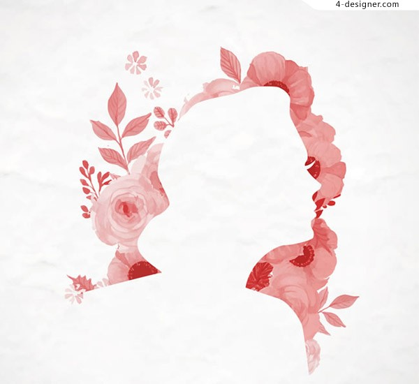 Flowers and women silhouette