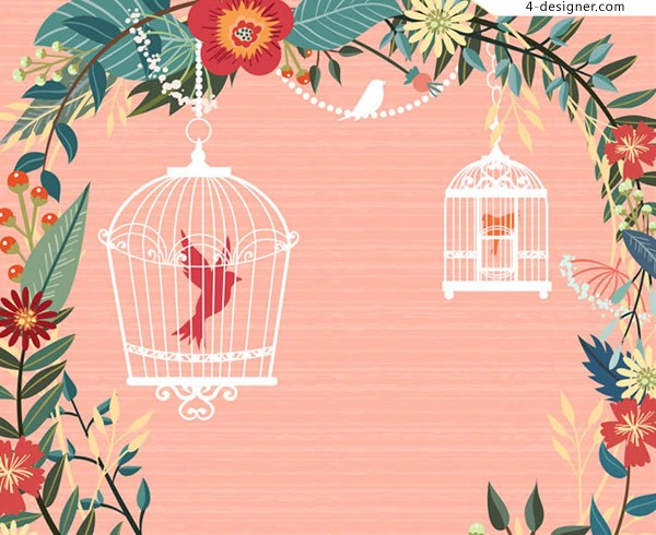 Garland and birdcage vector