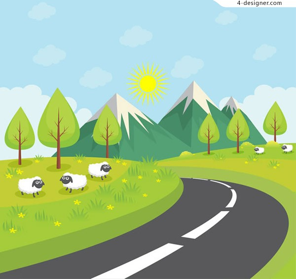 Highway scenery and sheep