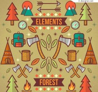 Illustration of forest camping elements