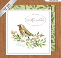 Invitation card for flower and bird wedding