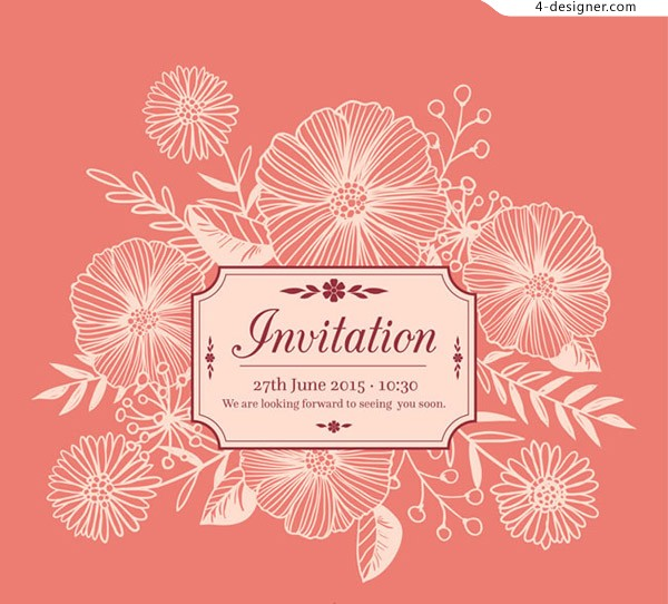 Invitation card for white flowers
