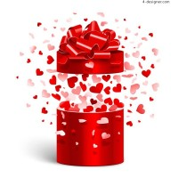 Love and red gift box