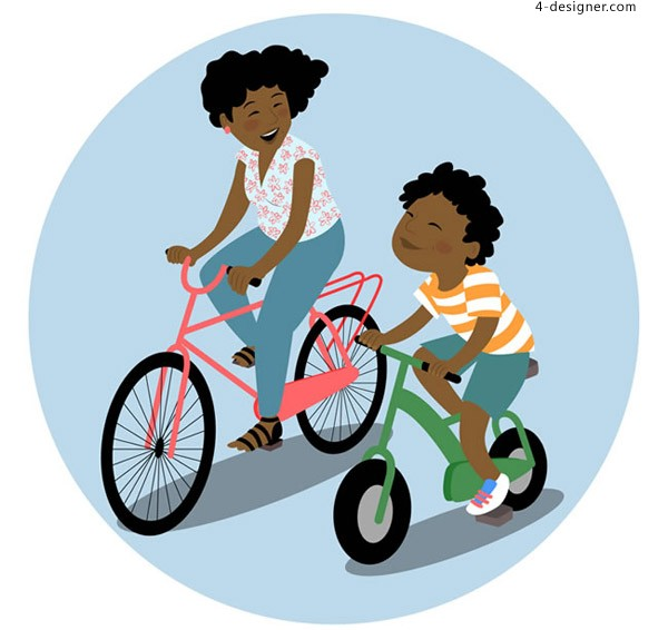 Mother and child riding a bicycle