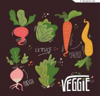 Painted vegetables vector