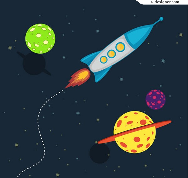 Rocket and planet illustration