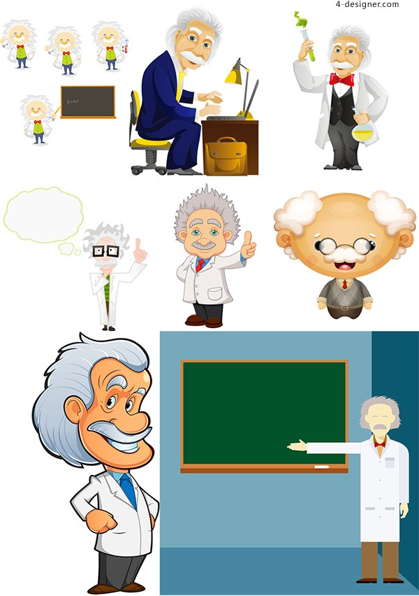 Scientist old man vector