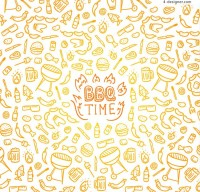 Seamless background of barbecue elements