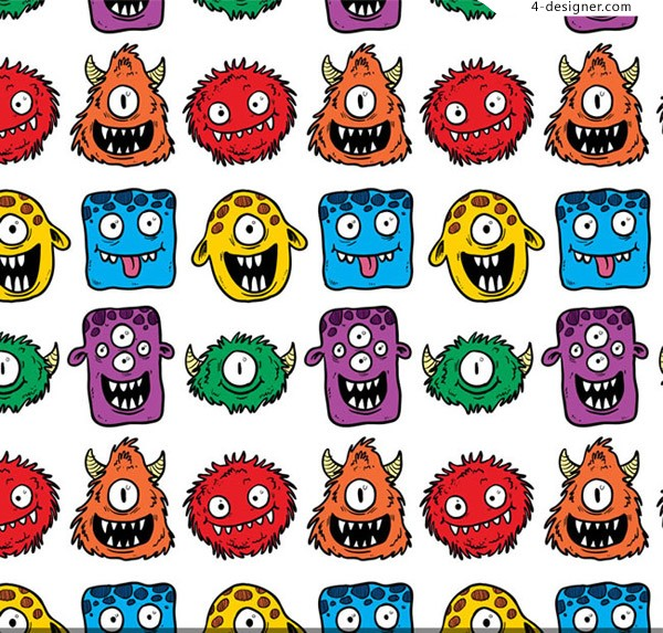 Seamless background of cartoon monsters