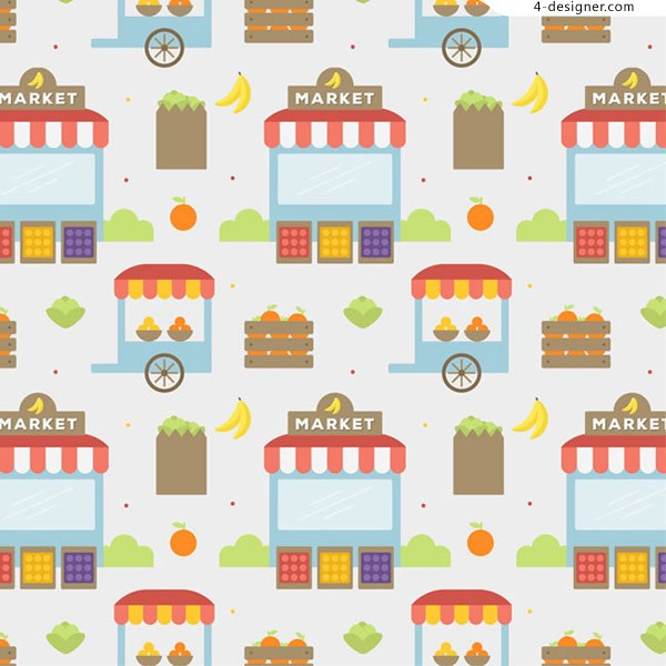 Seamless background of mobile shops