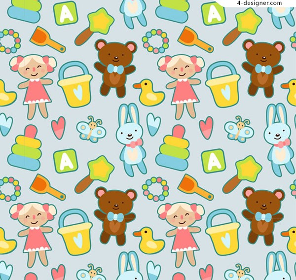 Seamless background of toys